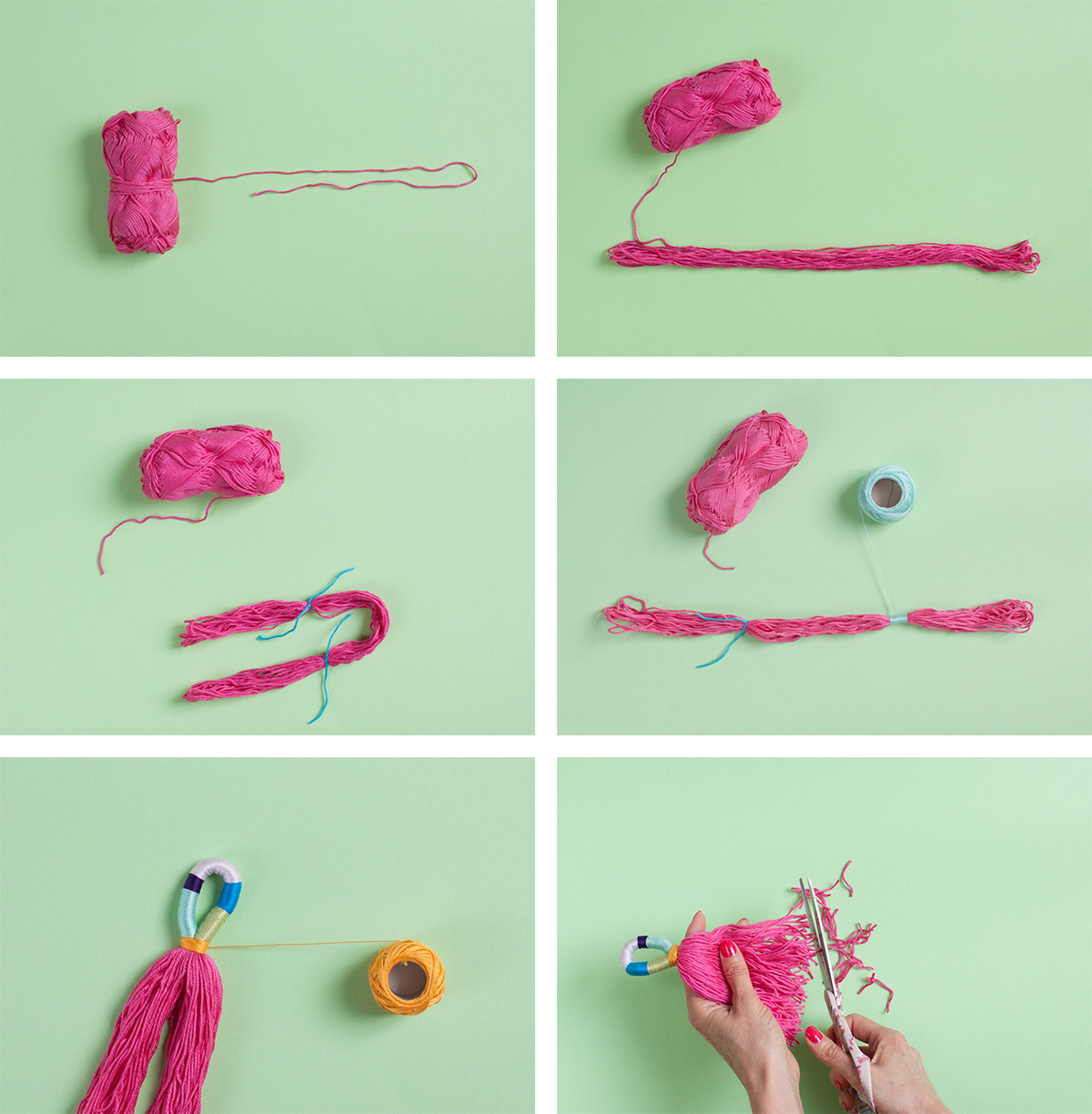 Multi-colored yarn tassels - Use them to accessorize your favorite handbag or hang them on your doorknob, so pretty! - www.yeswemadethis.com