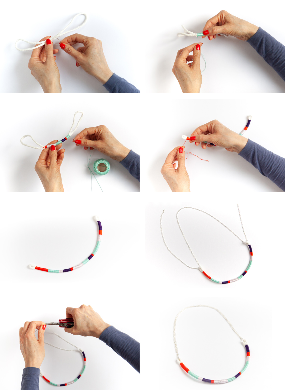 DIY Yarn Necklace - Simple tutorial for an impressive accessory. - www.yeswemadethis.com