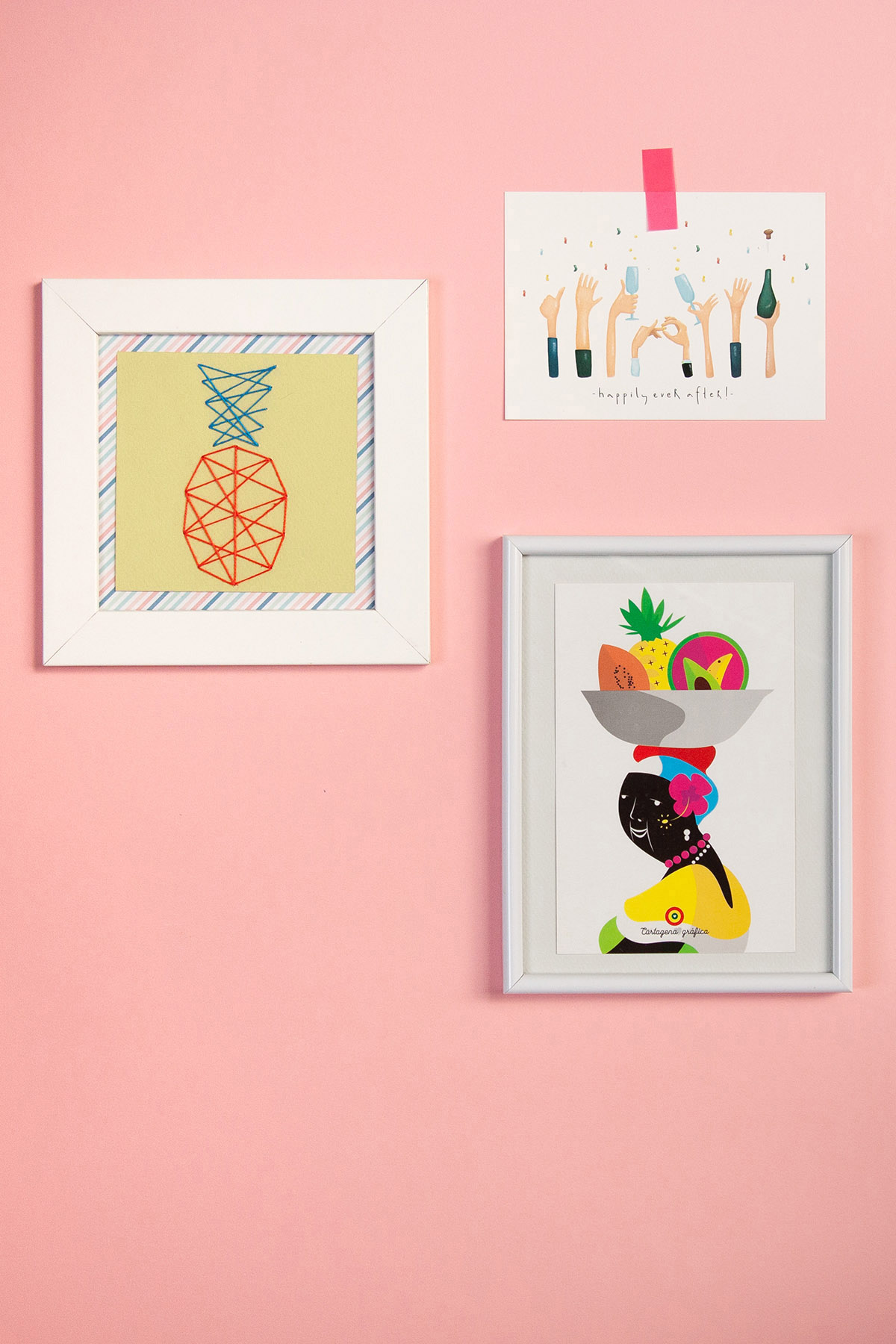 DIY Pineapple String Wall Art - Cute wall art idea. - www.yeswemadethis.com