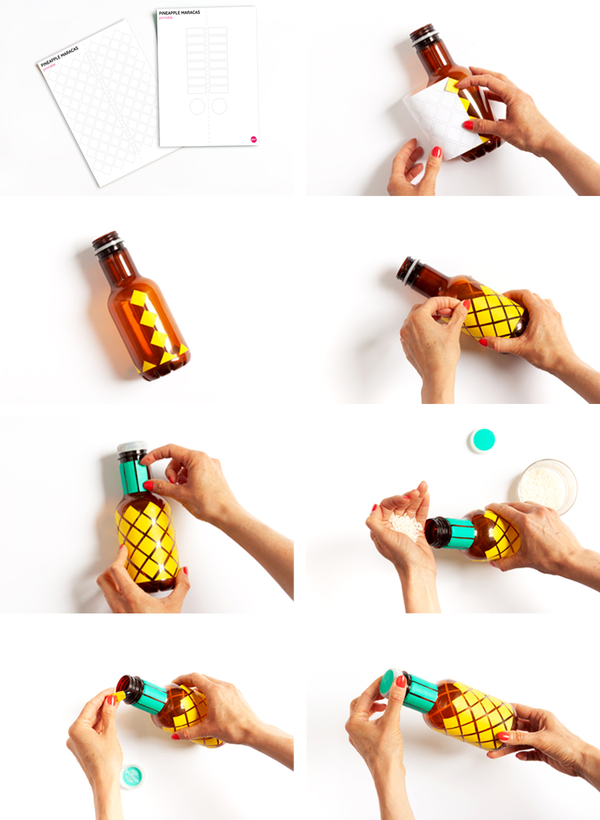 DIY Pineapple Maracas - Learn how to make these fun maracas out of plastic bottles. - www.yeswemadethis.com