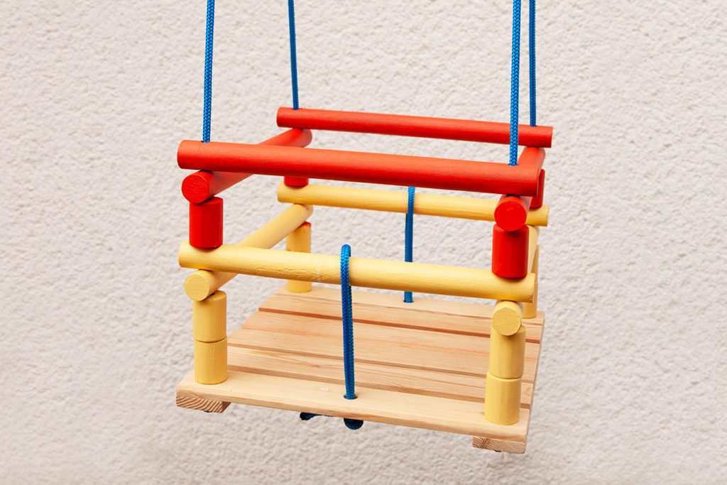 How to make a DIY Wooden Baby Swing - Finished Swing