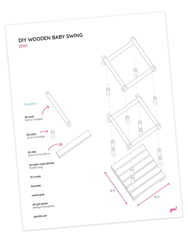 Plan for how to make a DIY wooden baby swing