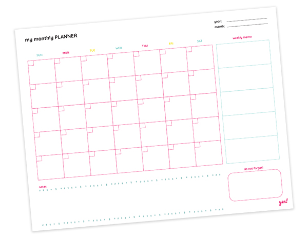 Free monthly planner printable
