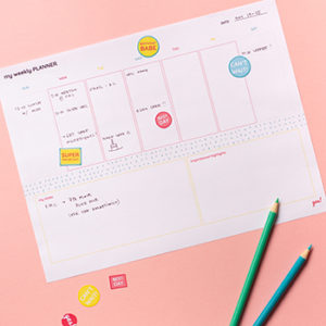 Filled out free printable weekly planner