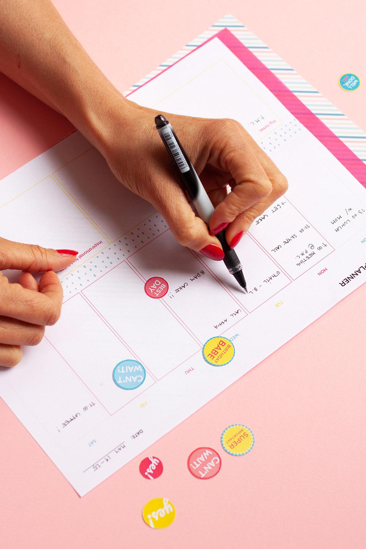 Planning the following week using free printable weekly planner
