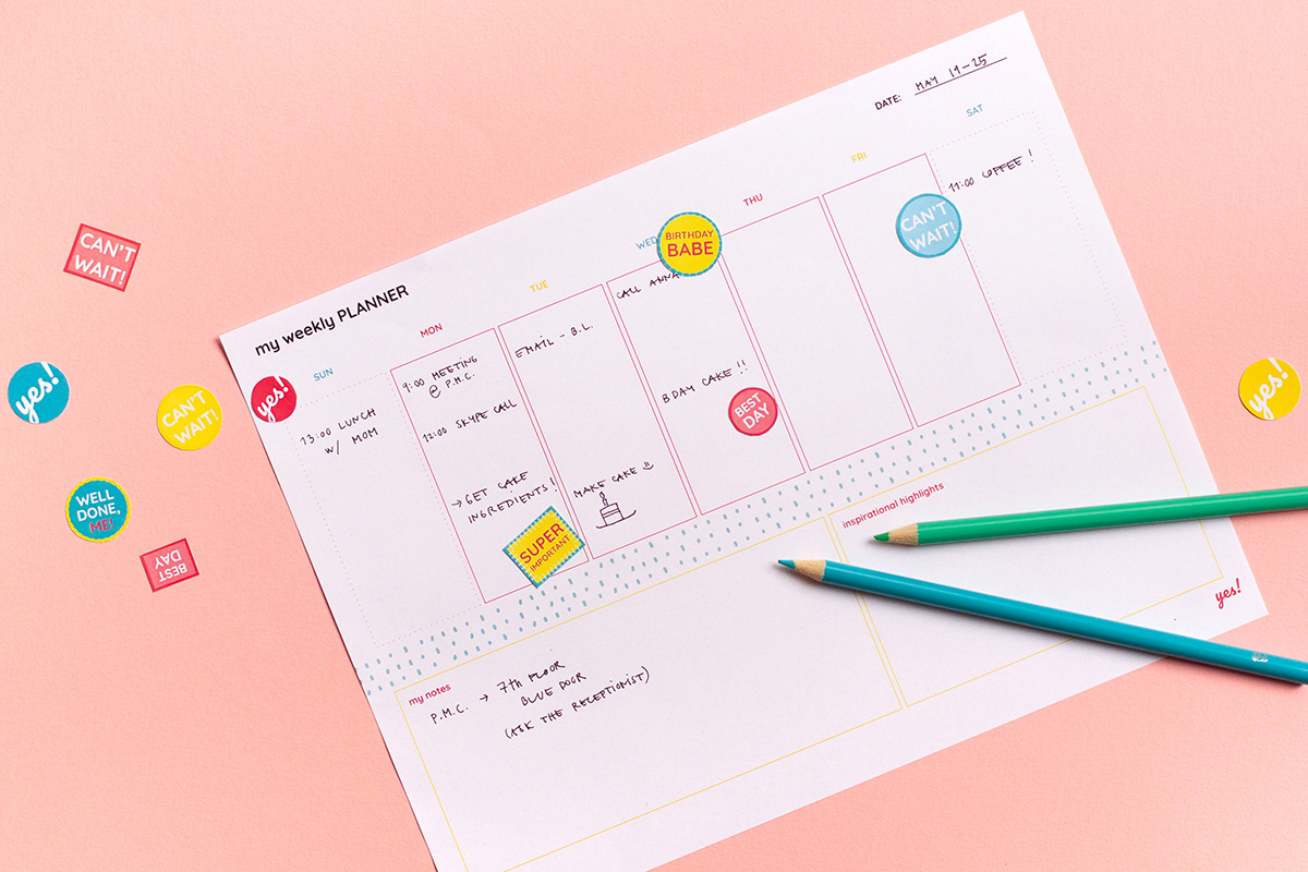 Example of filled out free printable weekly planner
