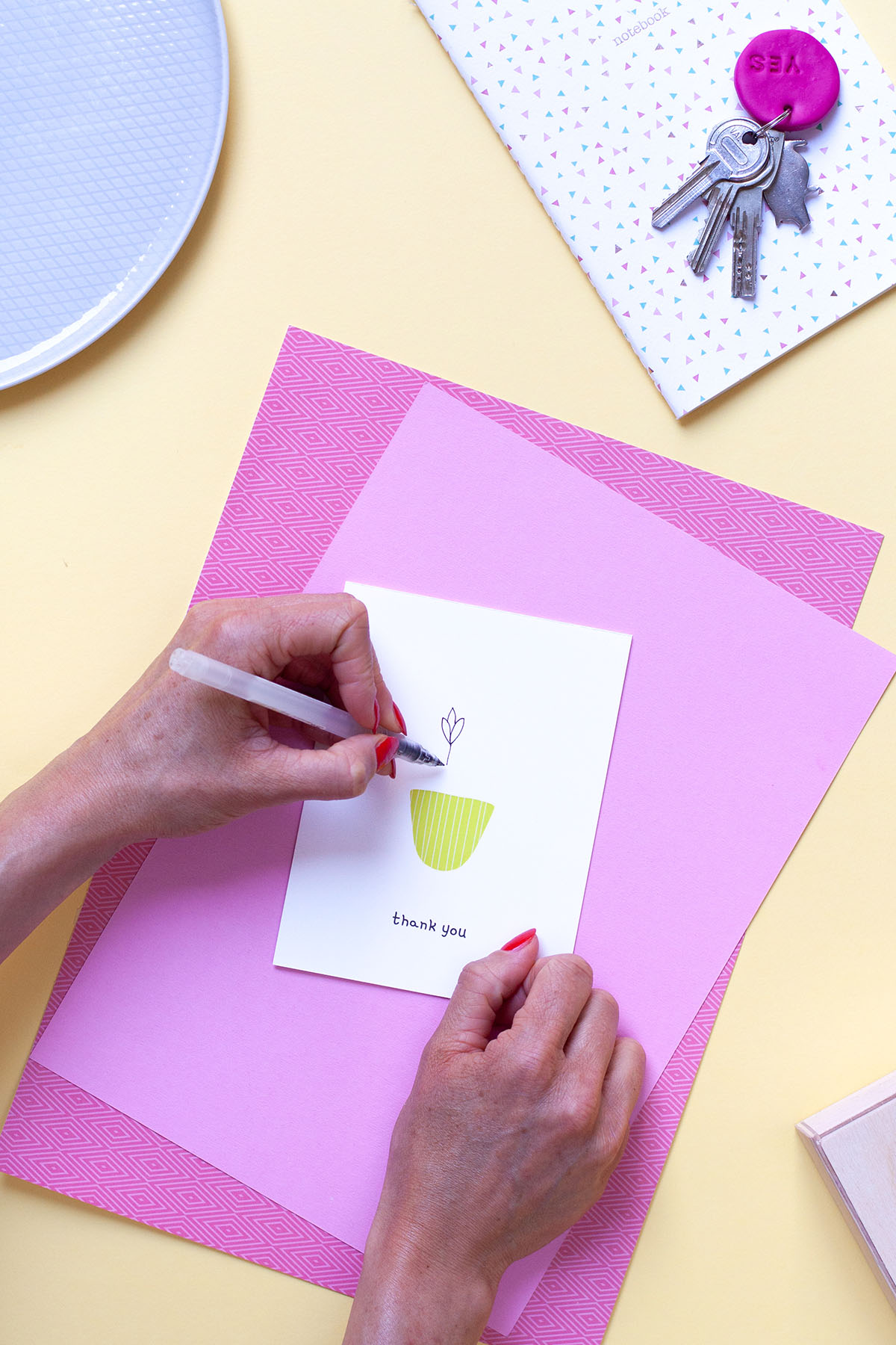 Drawing on the printable thank you card template