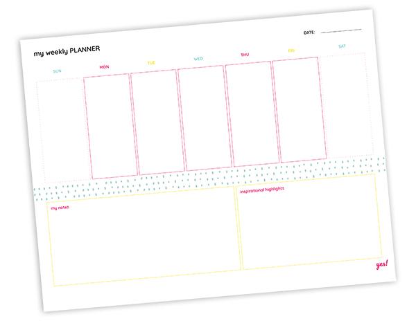 Free printable weekly planner - blank template