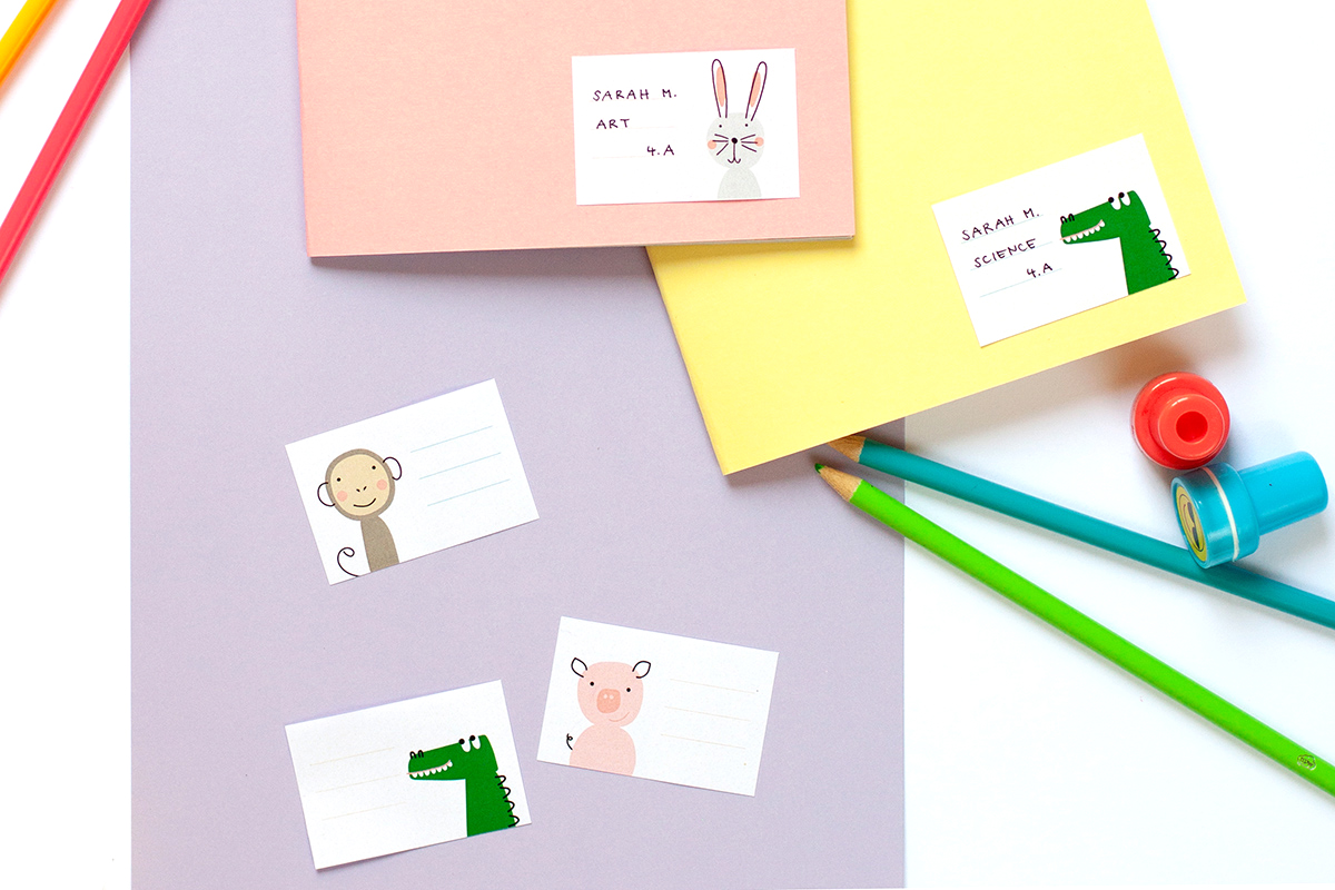 Printable animal school labels on school supplies
