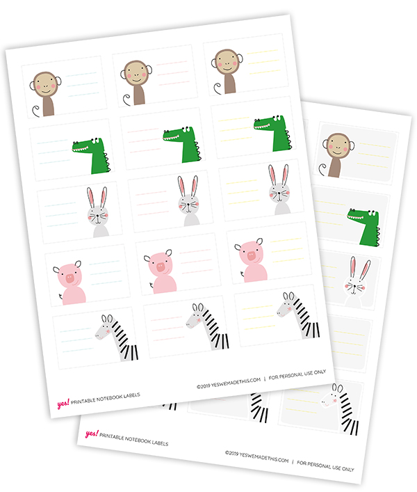 Printable animal school labels template