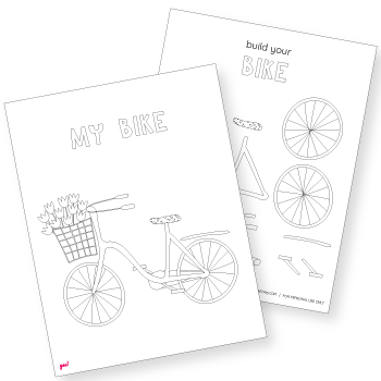 Bicycle Coloring Page and Cut-and-Paste Template