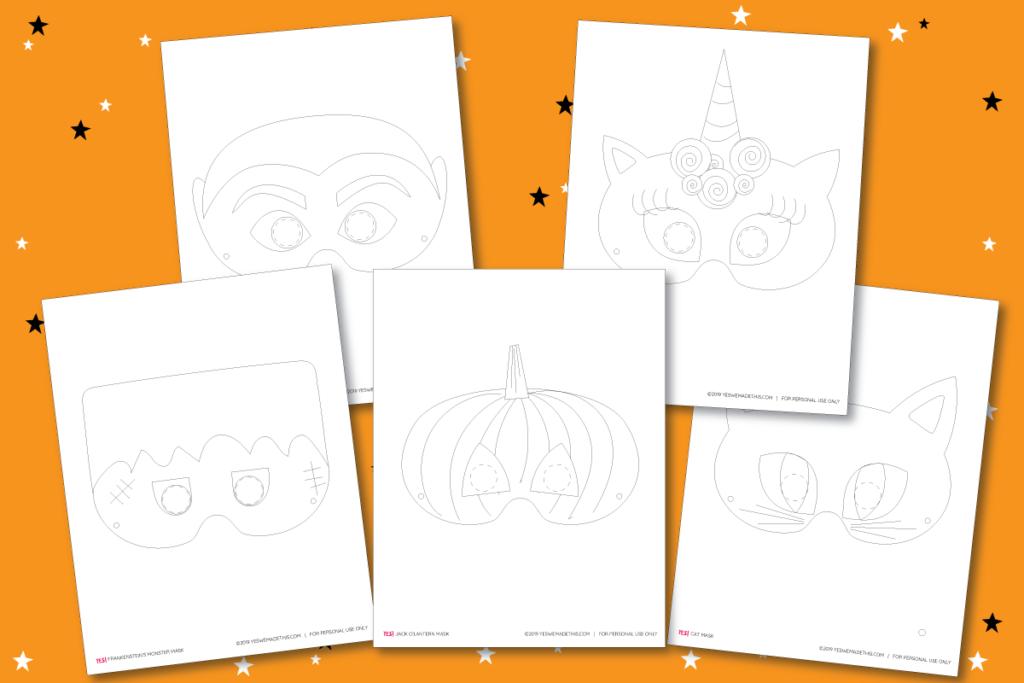 Kids Halloween Masks Coloring Templates