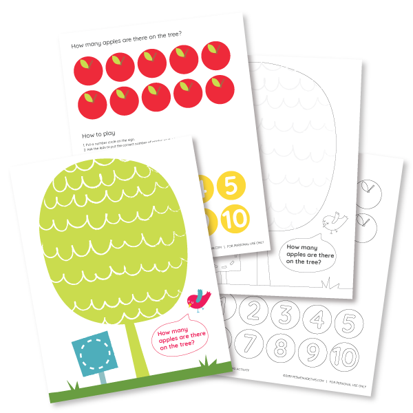 4 printables of the counting game to learn numbers