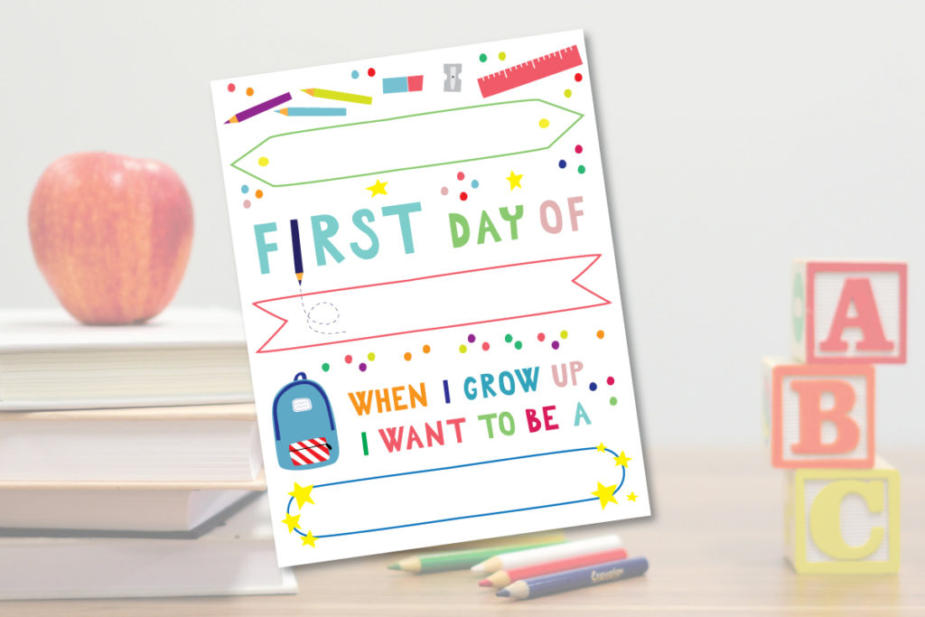 First Day of School Sign Free Printable Template
