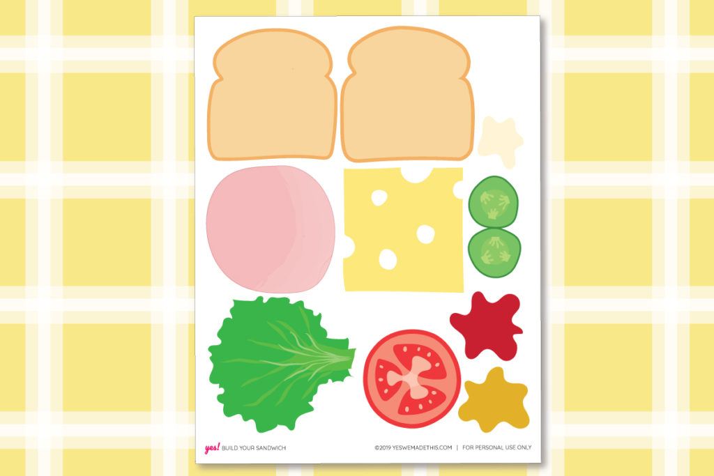 DIY Play Food Sandwich Printable Template