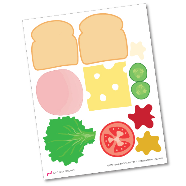 DIY Play Food Sandwich Printable