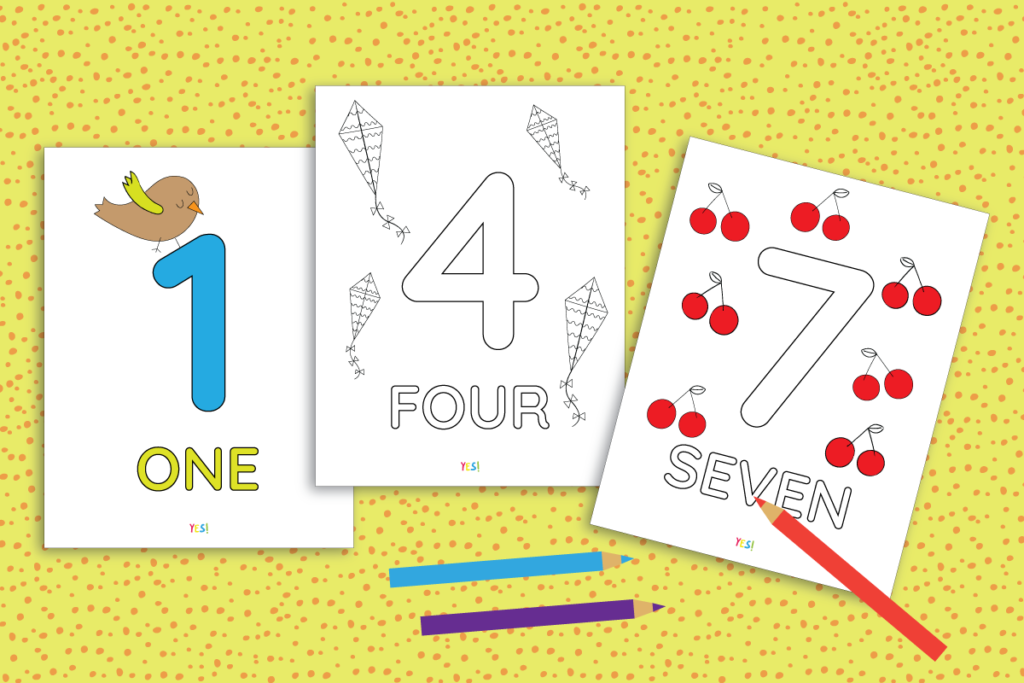 The example how to color the numbers coloring pages printables