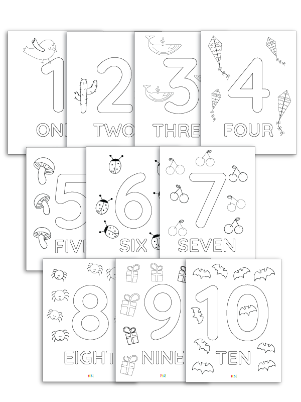 1-10 printable numbers coloring pages - 10 printable PDFs