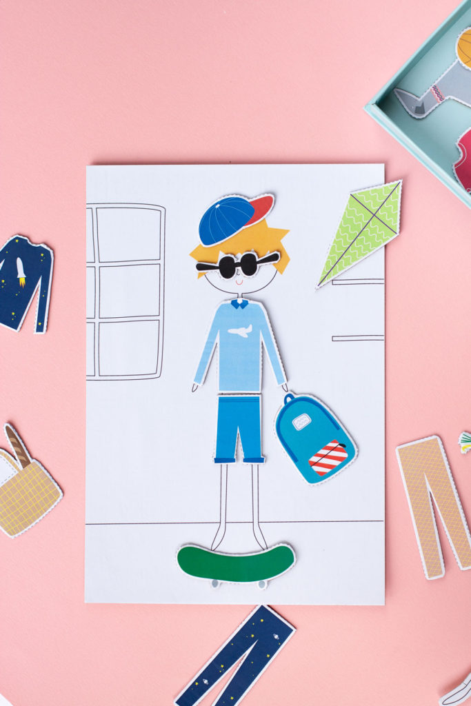 Printable dress up paper dolls in use