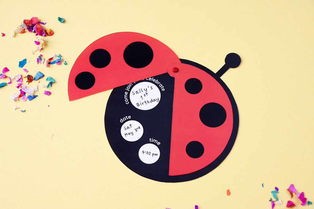 Ladybug invitation for birthday party