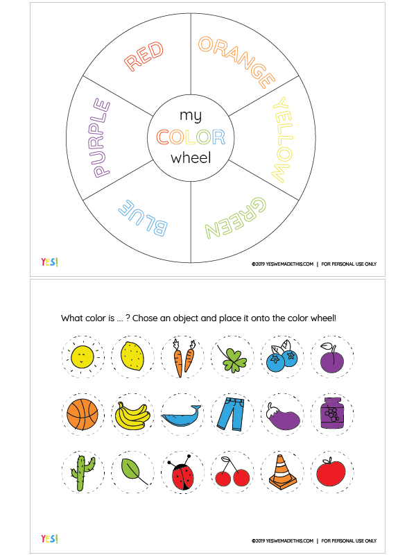 Kids Color wheel printable