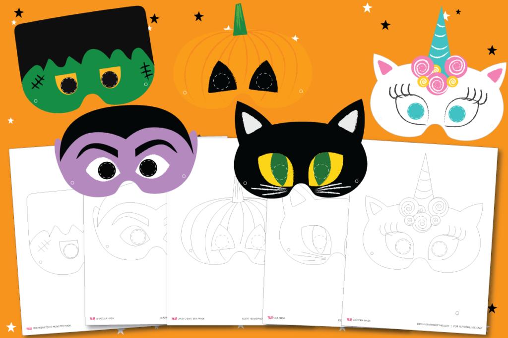 Halloween Facial Masks Printable Templates