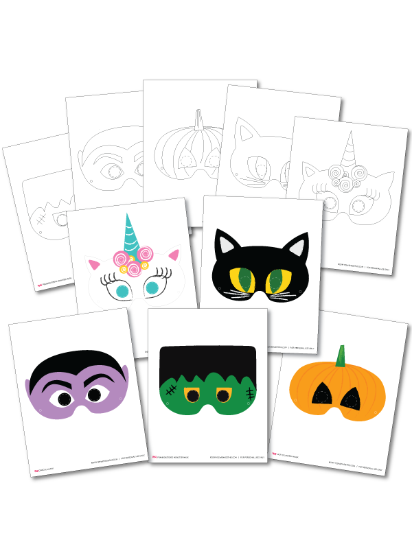 Printable Halloween Masks Coloring Templates