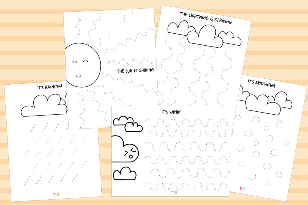Preschool line tracing worksheets - the weather