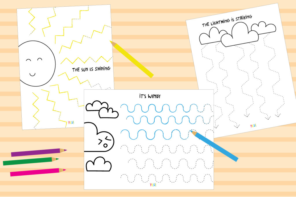 Weather line tracing worksheets