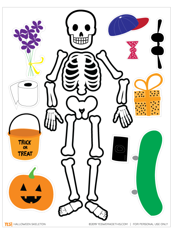 DIY Halloween skeleton kids' printable