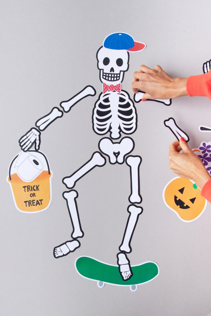 DIY Halloween skeleton printable for toddlers