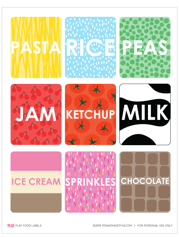 Play Food Labels Printable