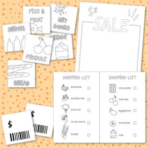 Grocery store pretend play printable templates