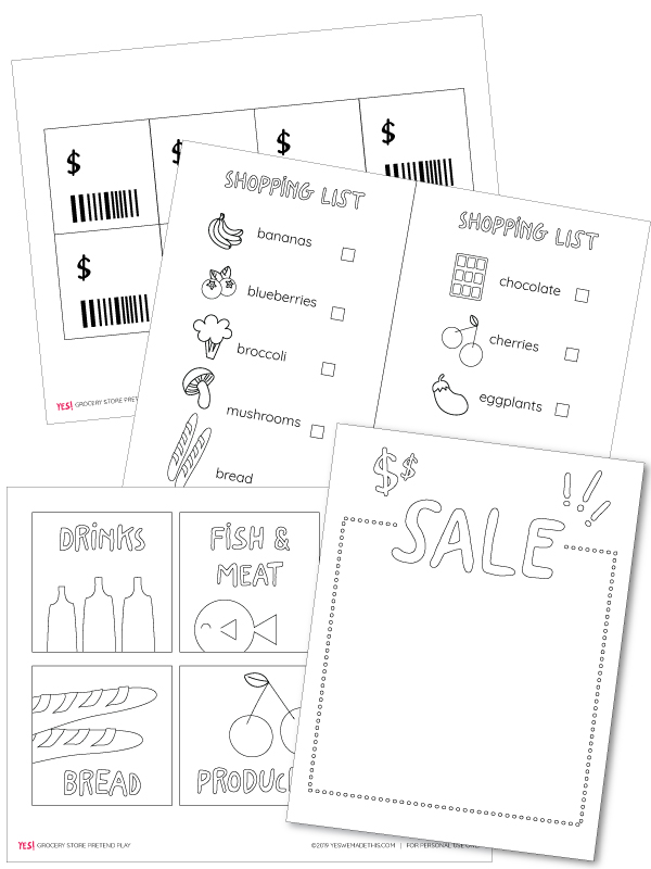 Printables for dramatic play supermarket
