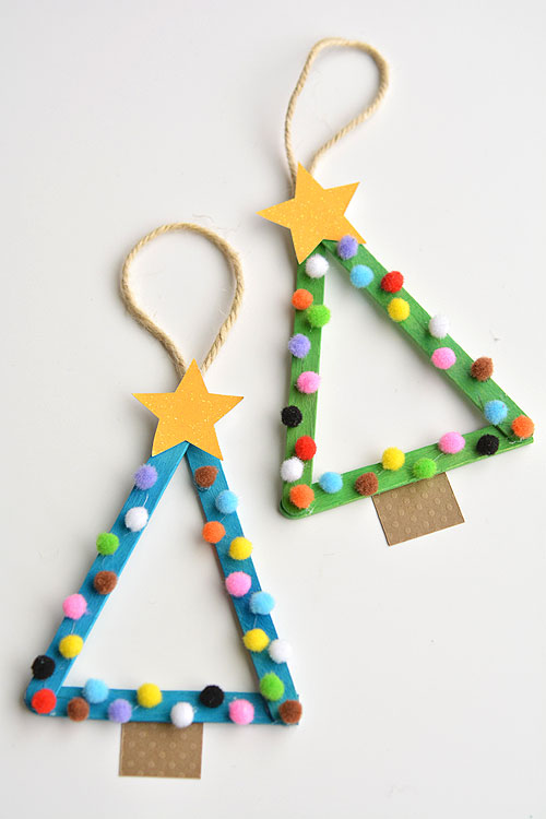 Popsicle Stick Christmas Trees by One Little Project at a Time