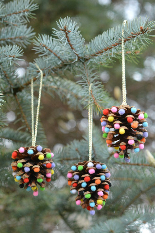 Pom Poms and Pinecones Christmas Ornaments by One Little Project at a Time