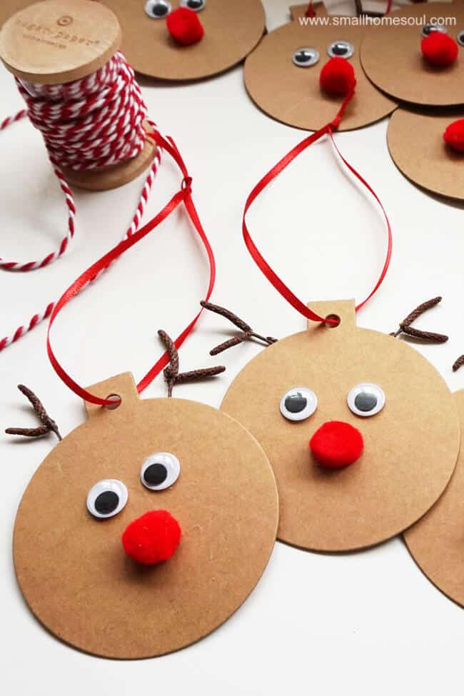 Rudolph Ornaments by Girl, Just DIY