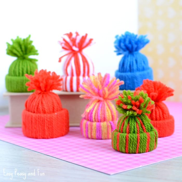 Mini Yarn Hat Ornaments by Easy Peasy and Fun