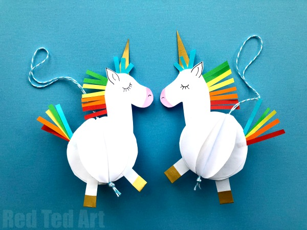Paper Unicorn Ornaments by Red Ted Art