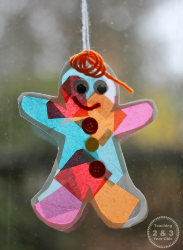 Gingerbread Sun Catcher Ornament by Teaching 2 and 3-Year-Olds
