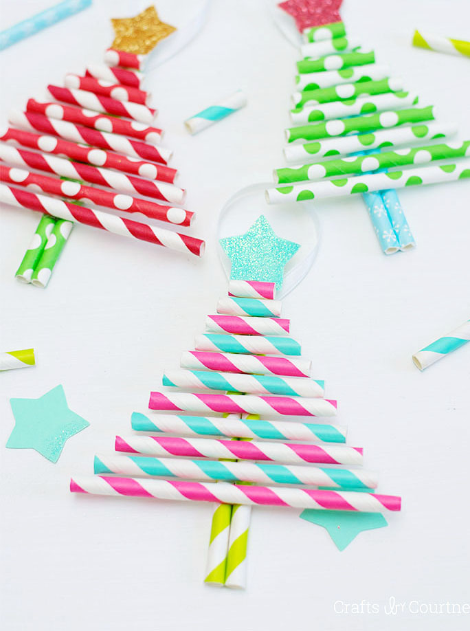 Paper Straw Christmas Tree Ornaments by Crafts by Courtney via Simple as That