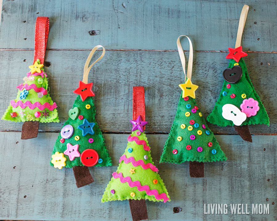 Felt Christmas Tree Ornaments by Living Well Mom