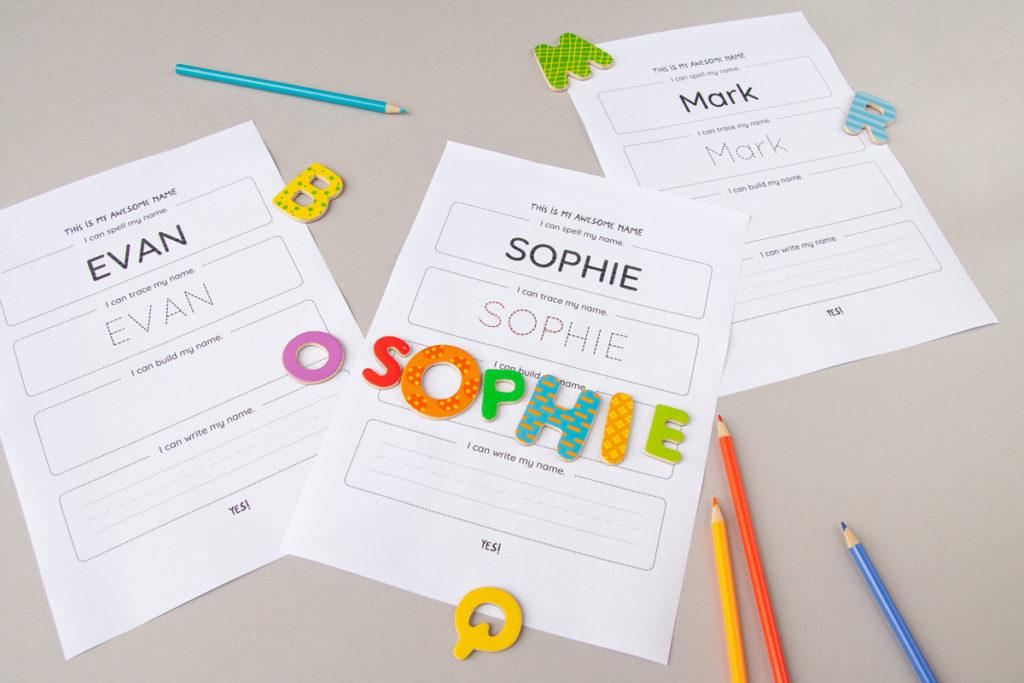 Practice name writing for preschoolers