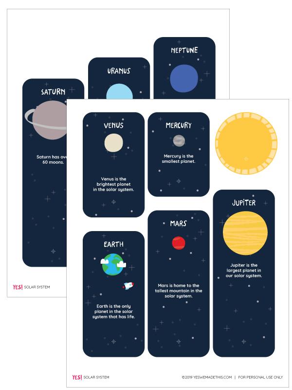 Free PDF solar system printable