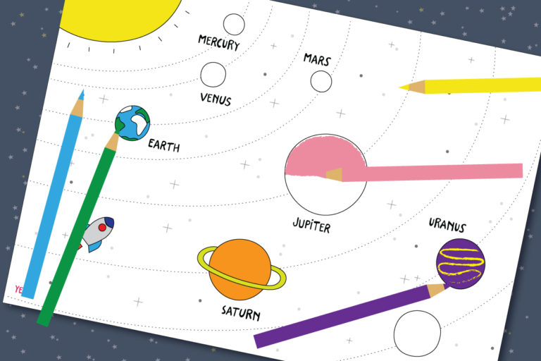 Coloring page of solar system