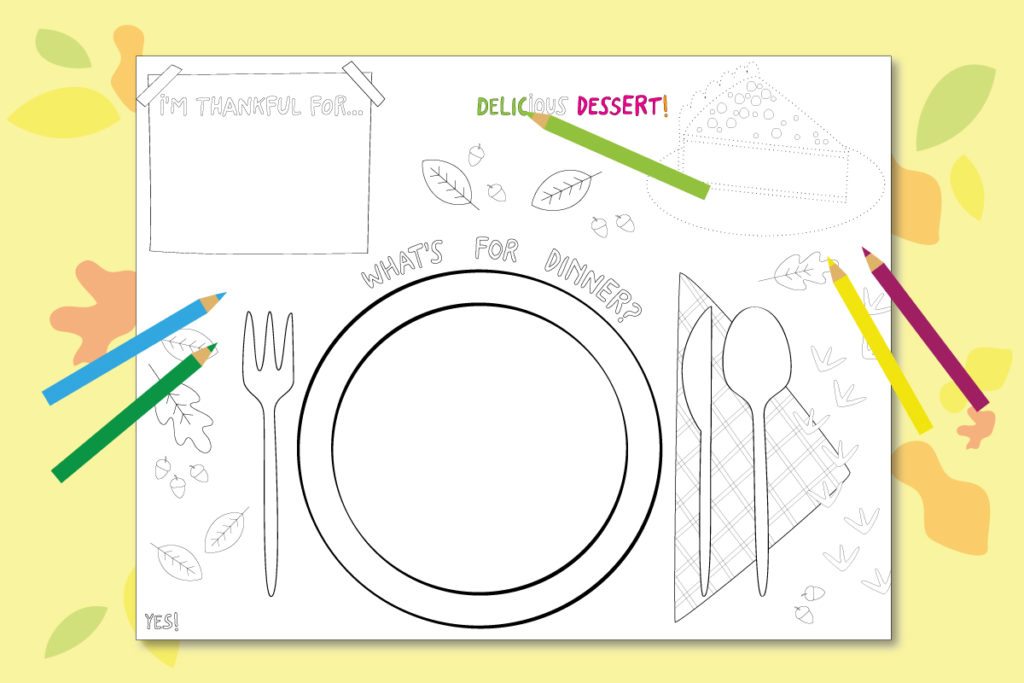 Printable activity placemats