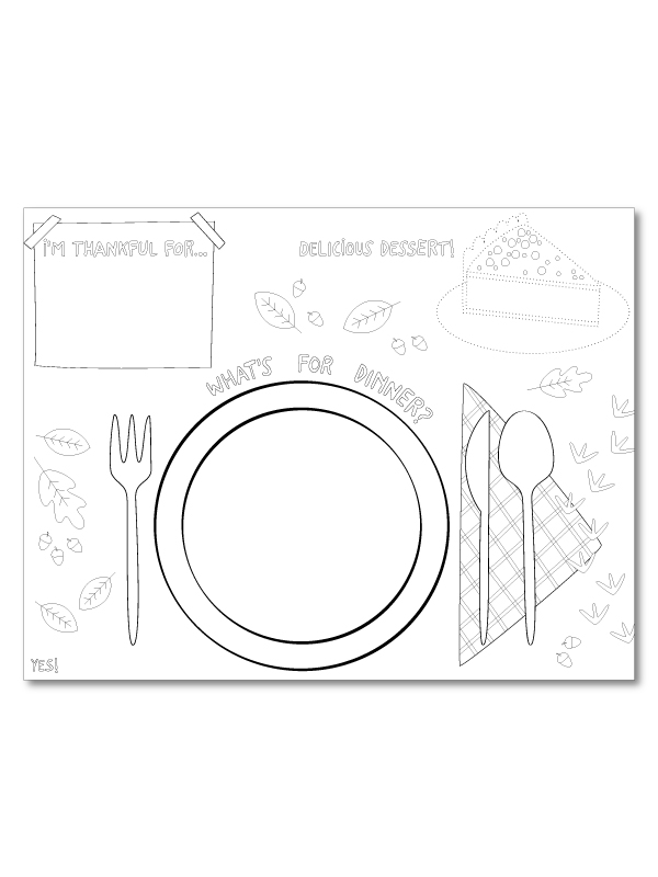 Thanksgiving coloring placemat printable
