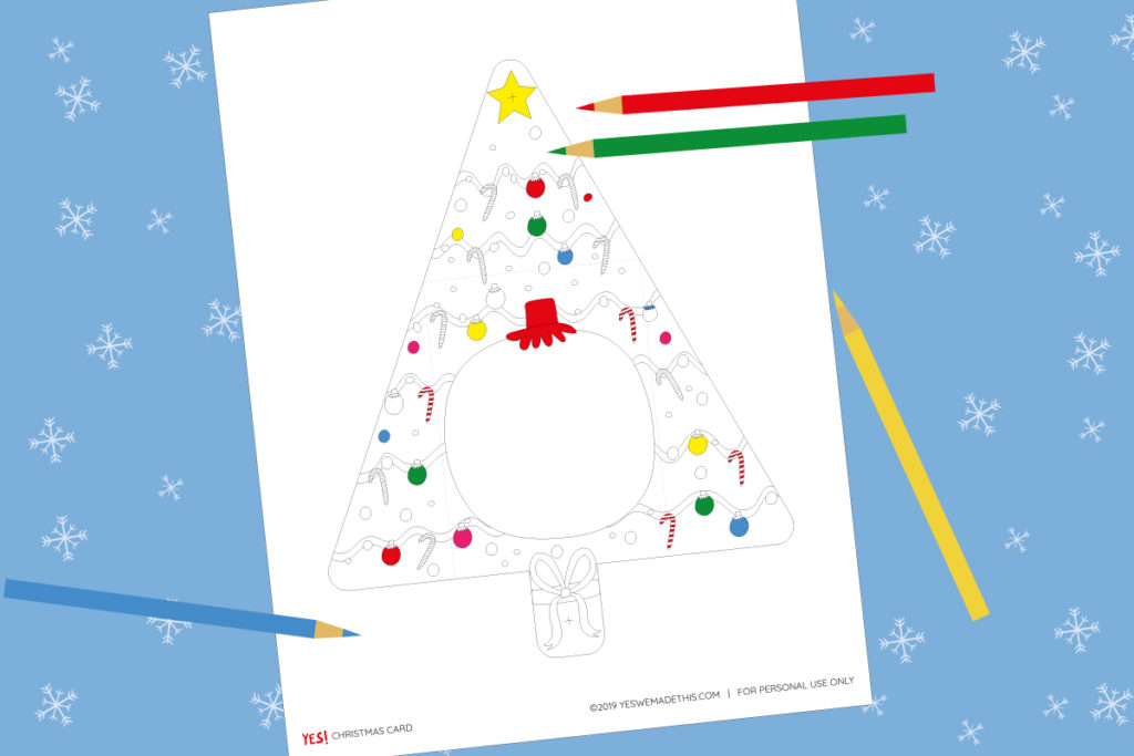 Christmas Tree Card to Color