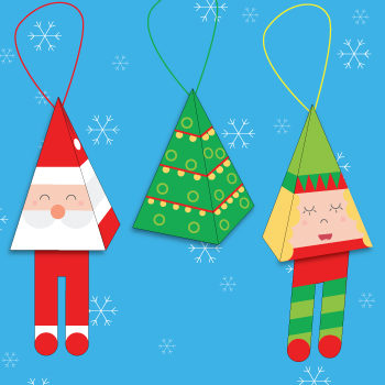 Simple Christmas tree paper ornaments