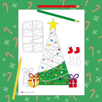Christmas tree coloring page to color
